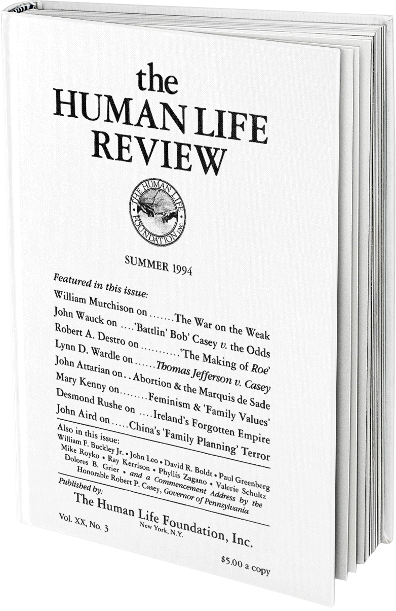 The Human Life Review Summer 1994 The Human Life Review