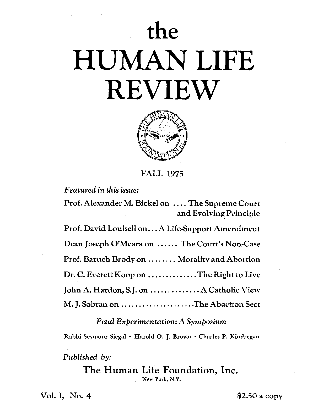0ae9267632e91 The Human Life Review Fall 1975 - The Human Life Review