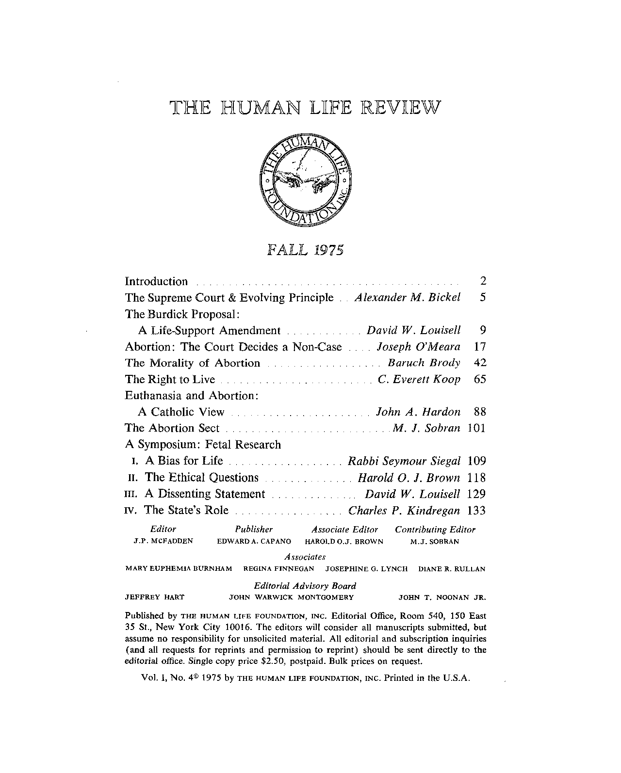 The Human Life Review Fall 1975 - The Human Life Review