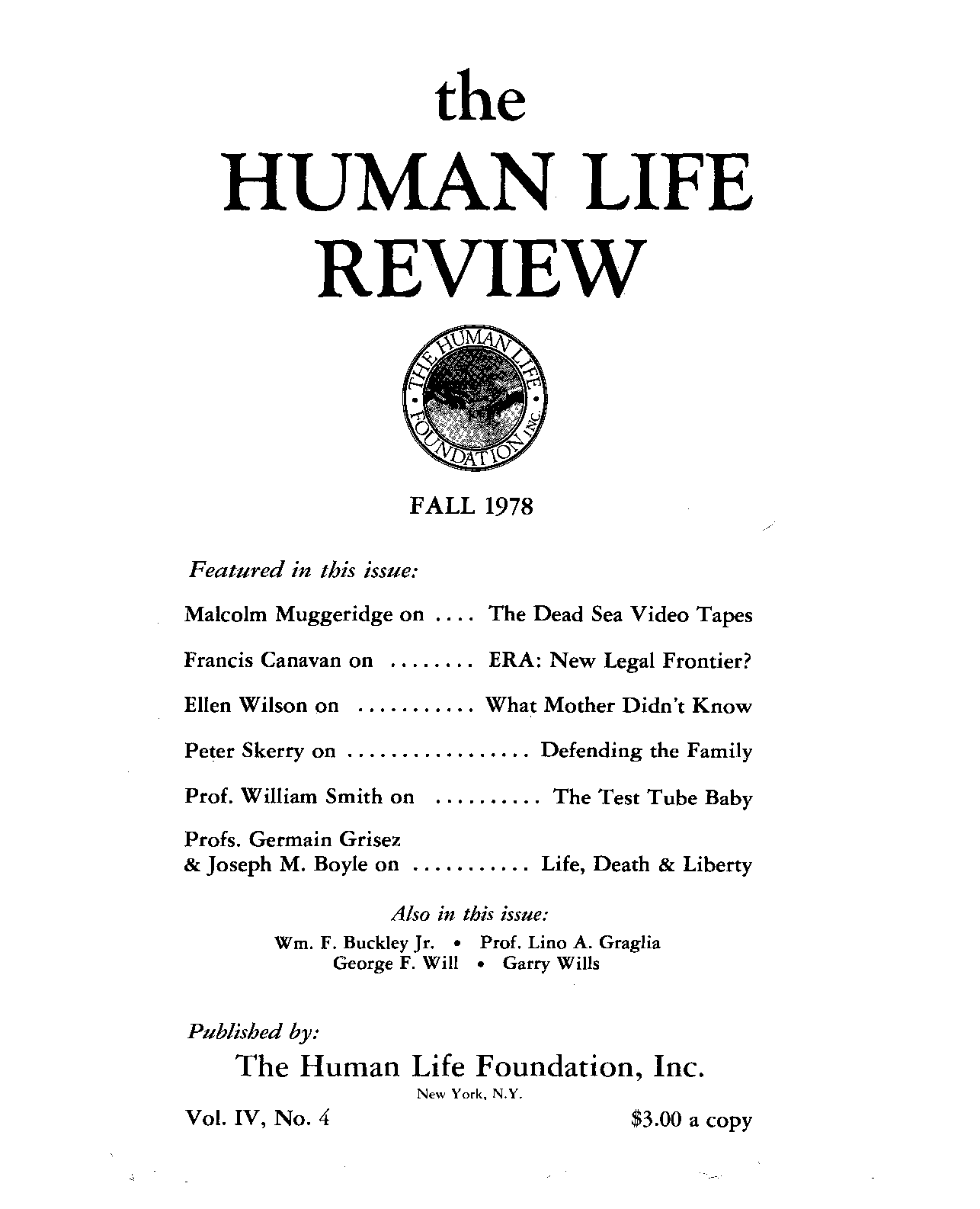 The Human Life Review Fall 1978 - The Human Life Review