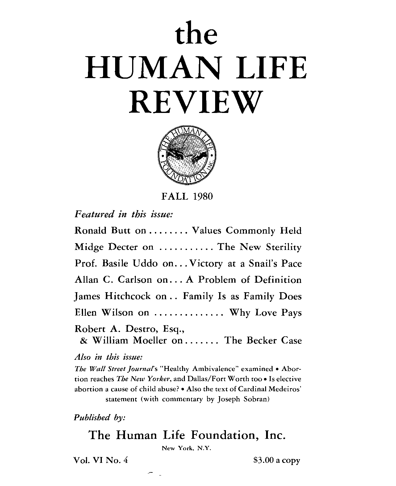 Rced Commentary Education Bills Put >> The Human Life Review Fall 1980 The Human Life Review