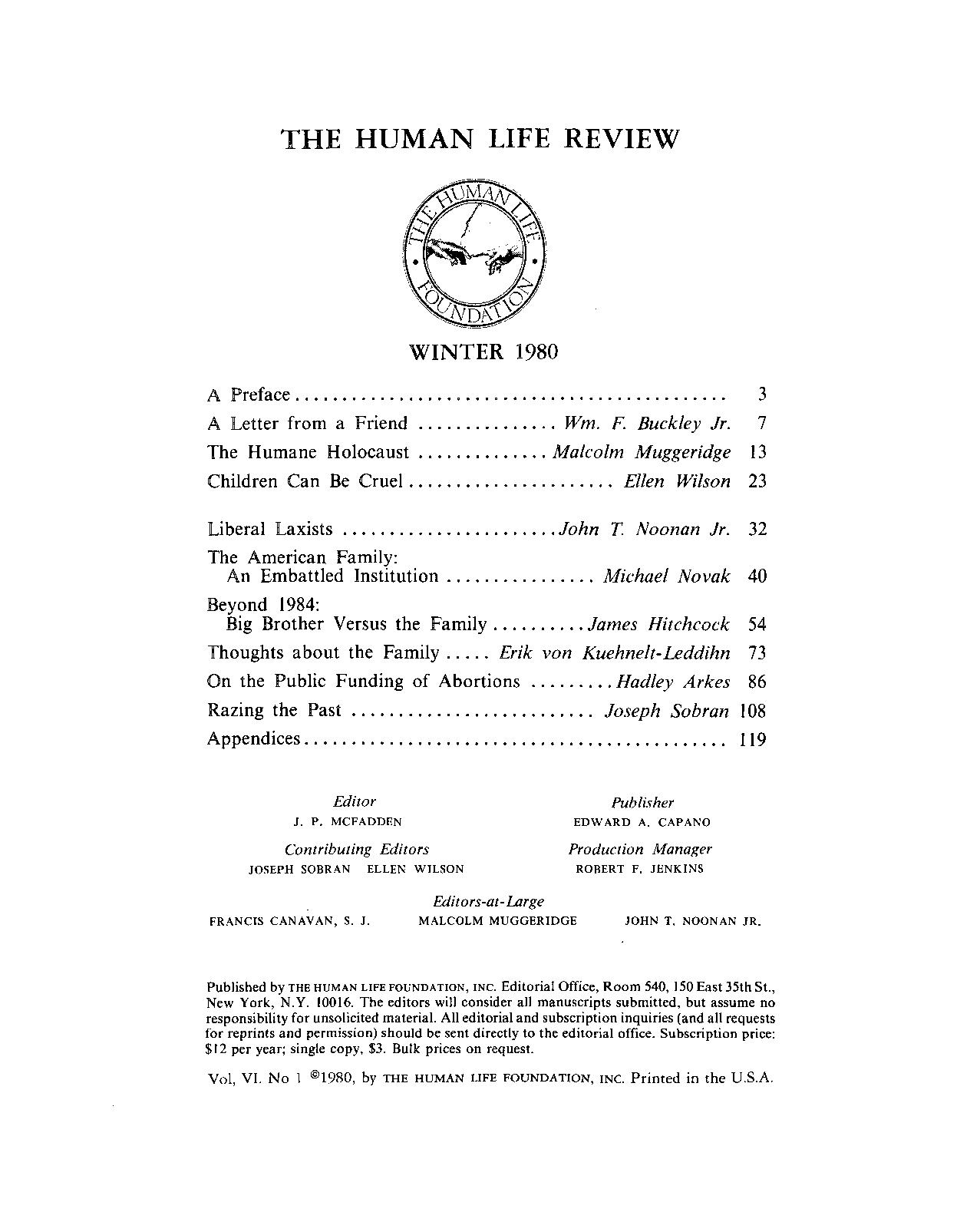 Fatuous Editorial Of Day Prize >> The Human Life Review Winter 1980 The Human Life Review