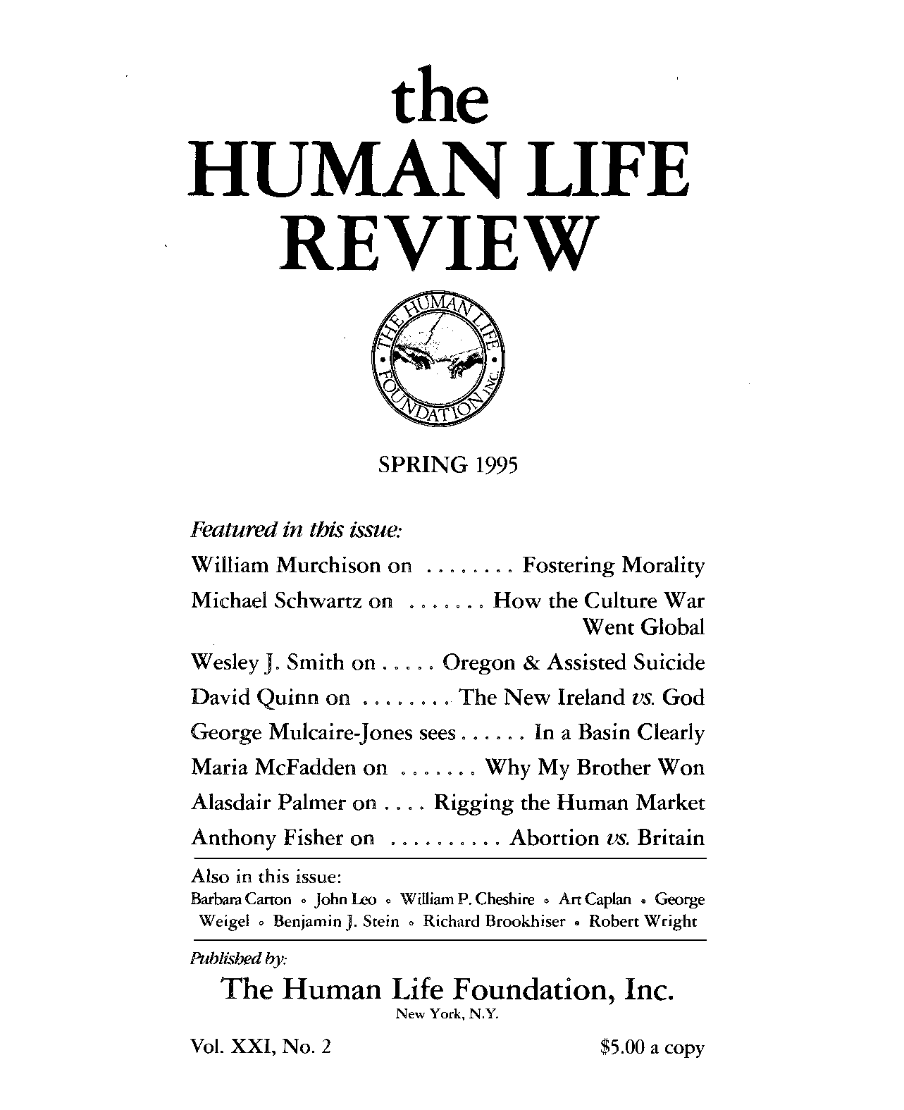 bcdabc406ed69 The Human Life Review Spring 1995 - The Human Life Review