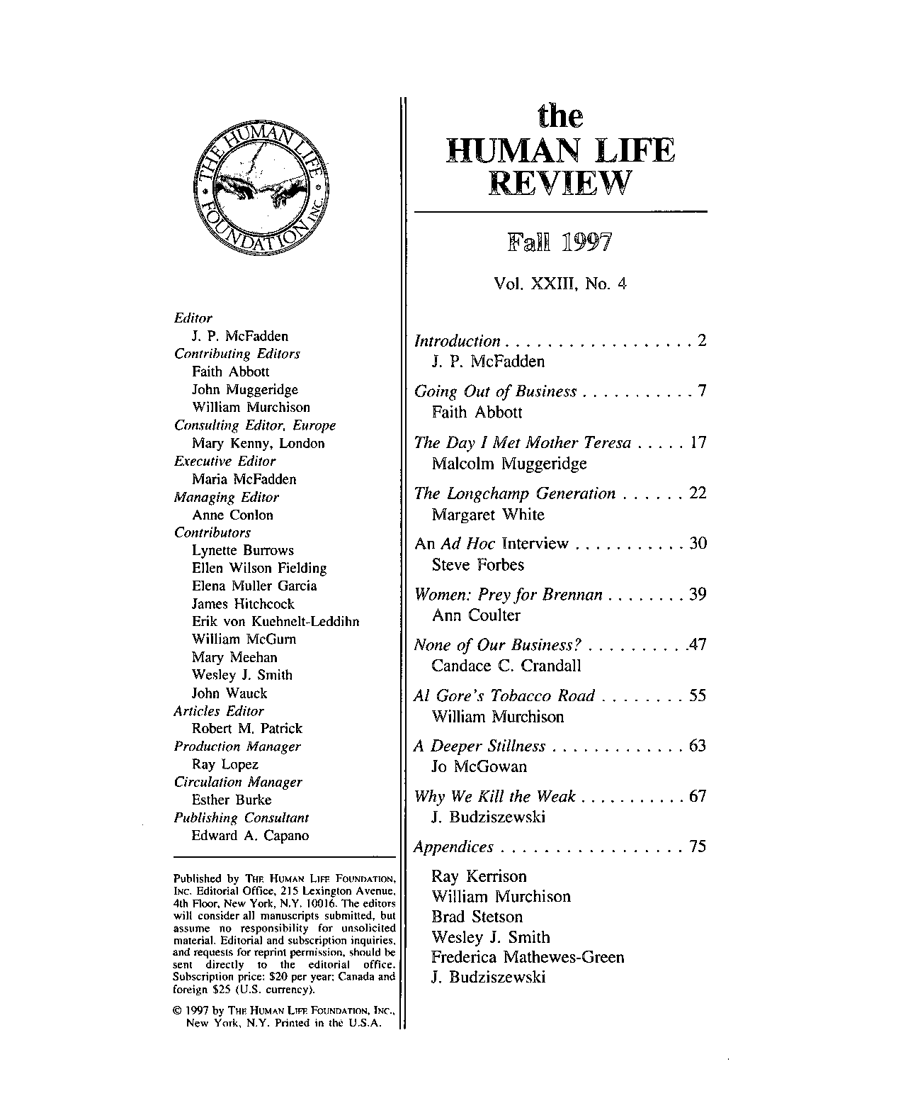 Fatuous Editorial Of Day Prize >> The Human Life Review Fall 1997 The Human Life Review