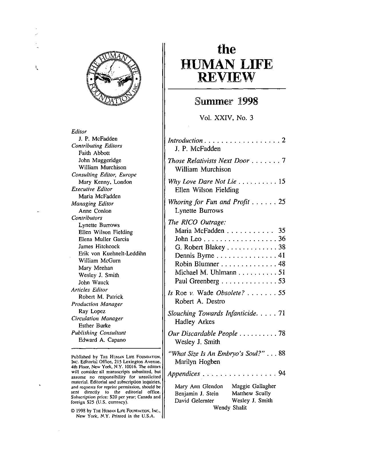 The Human Life Review Summer 1998 - The Human Life Review