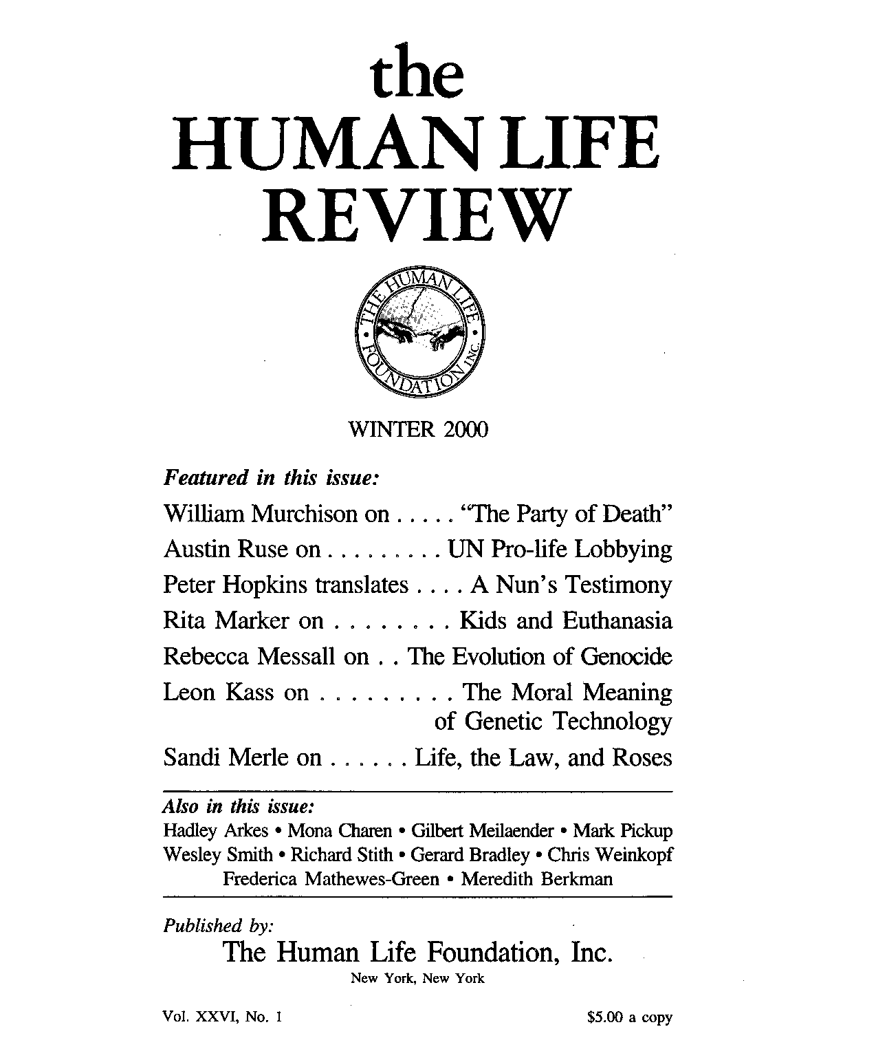 3b7390c11cf4ea The Human Life Review Winter 2000 - The Human Life Review