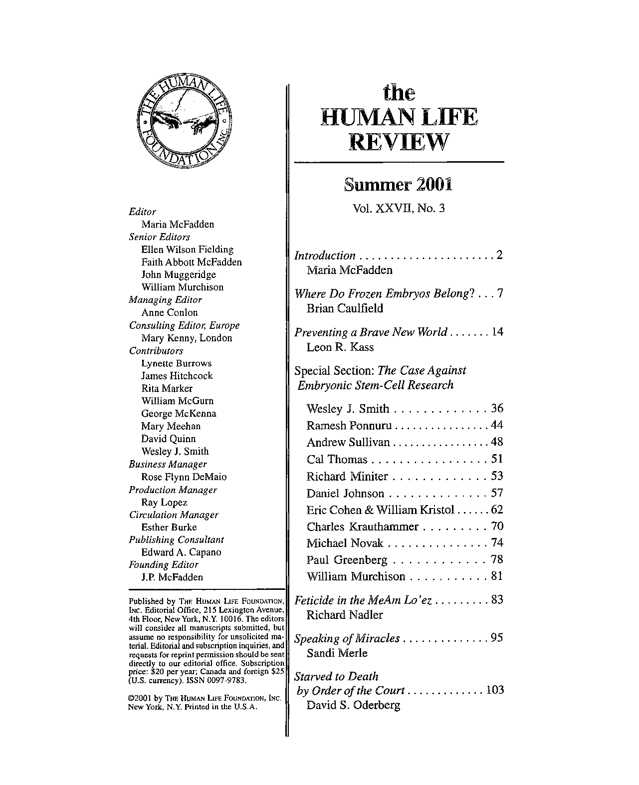 The Human Life Review Summer 2001 - The Human Life Review