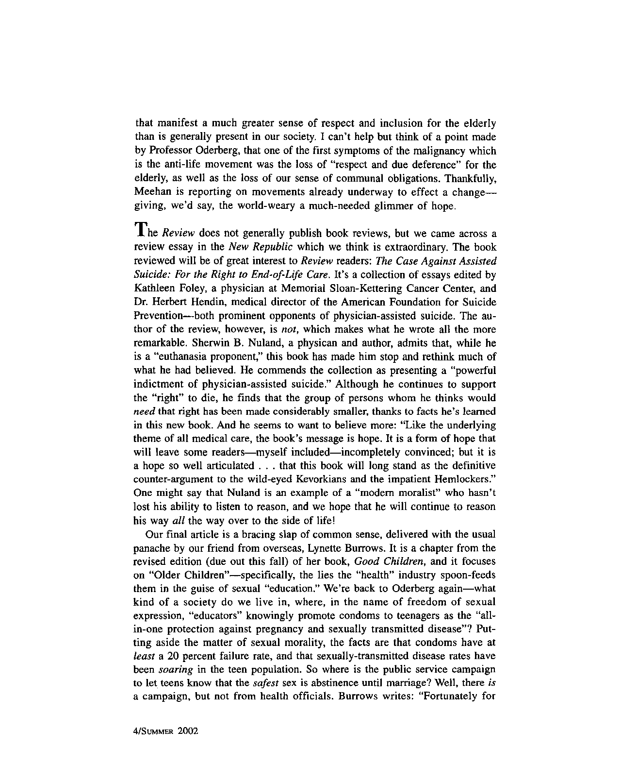 The Human Life Review Summer 2002 - The Human Life Review