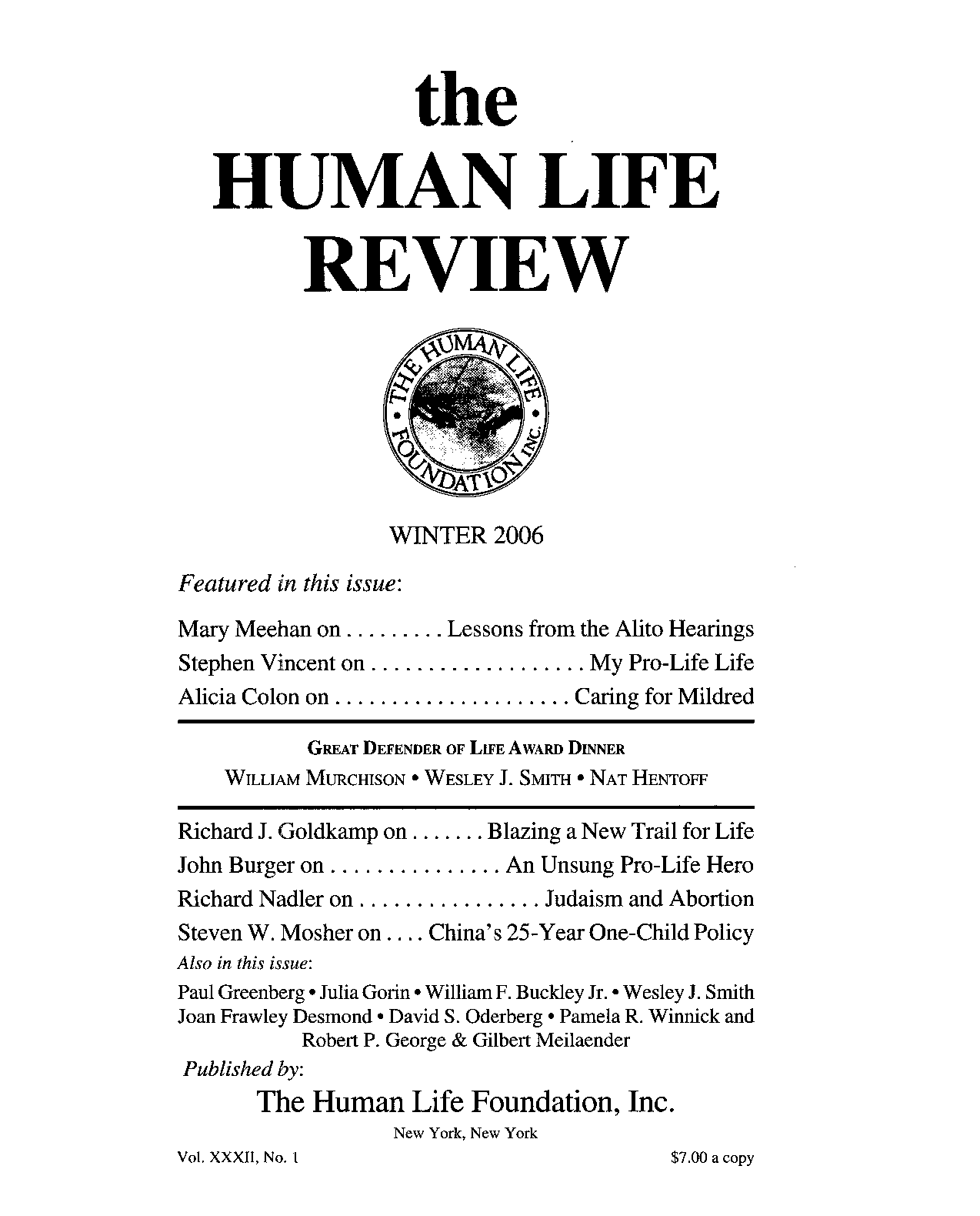 The Human Life Review Winter 2006 - The Human Life Review