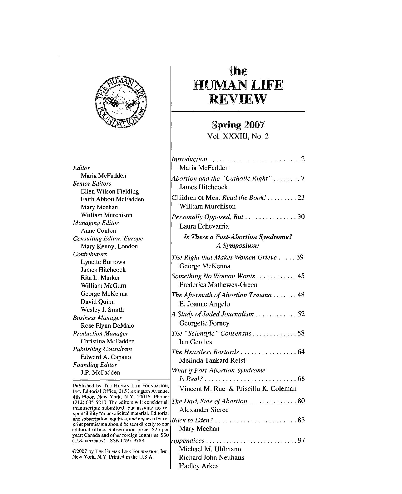 The Human Life Review Spring 2007 - The Human Life Review