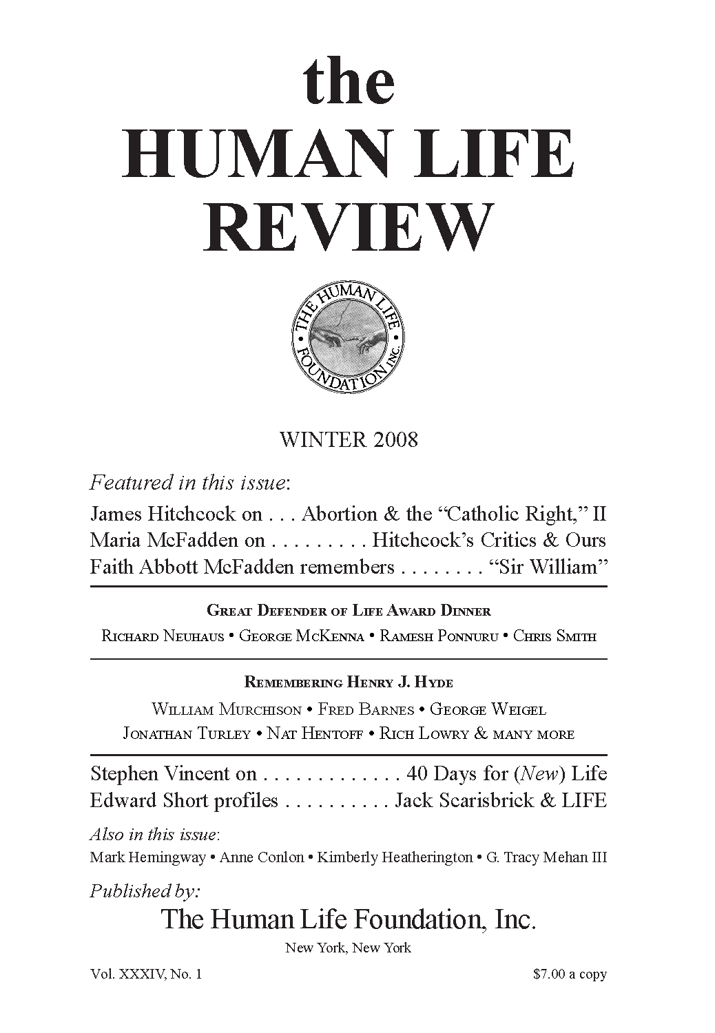 417e9823328ef The Human Life Review Winter 2008 - The Human Life Review