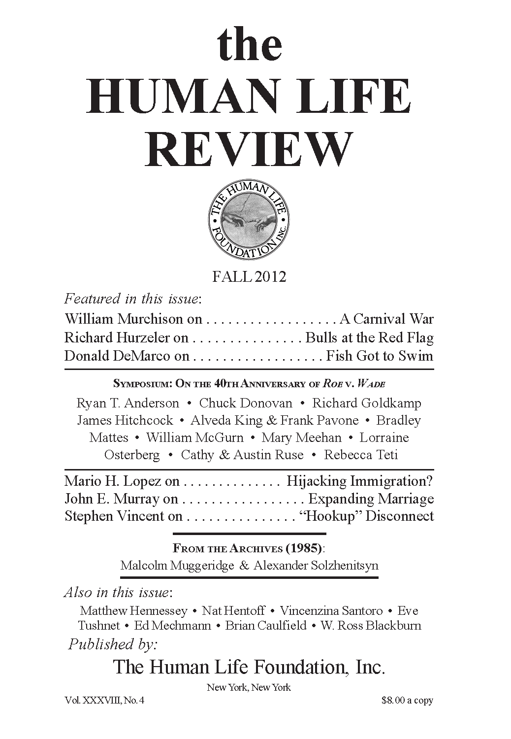 The Human Life Review Fall 2012 - The Human Life Review