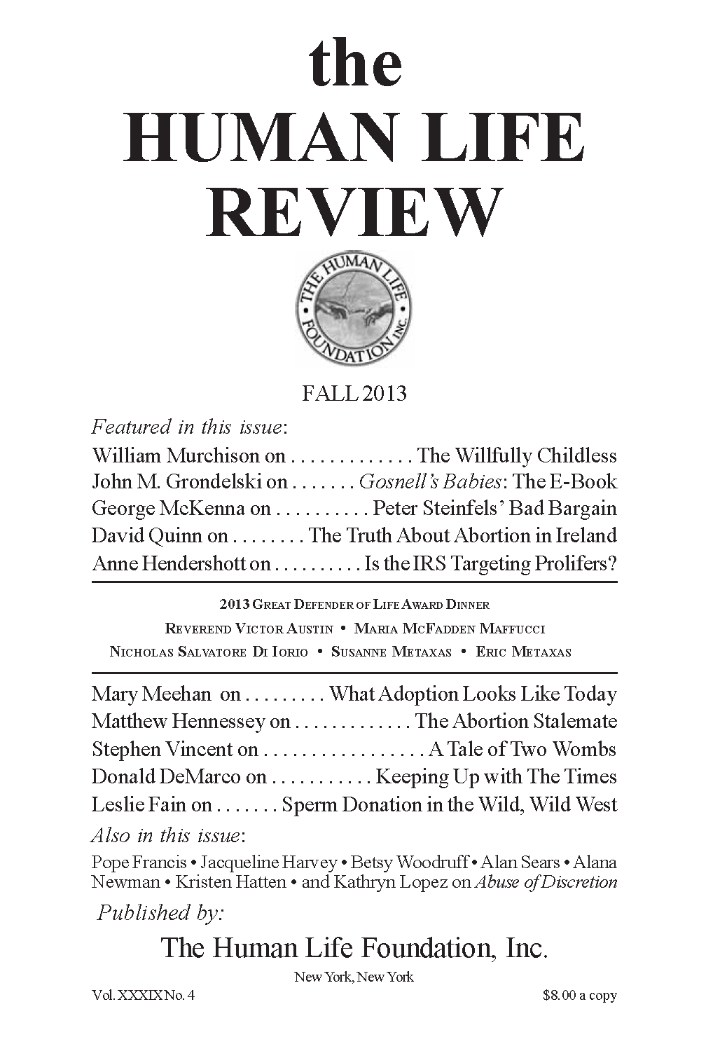 d774242ca5ab The Human Life Review Fall 2013 - The Human Life Review