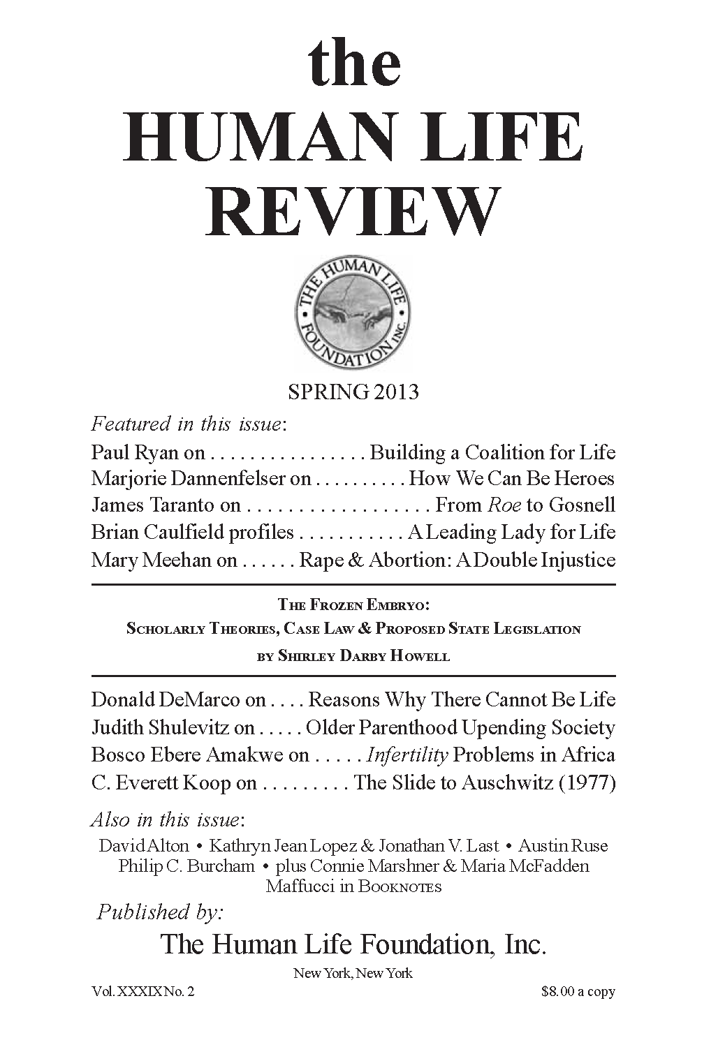 e9164a79a239a The Human Life Review Spring 2013 - The Human Life Review