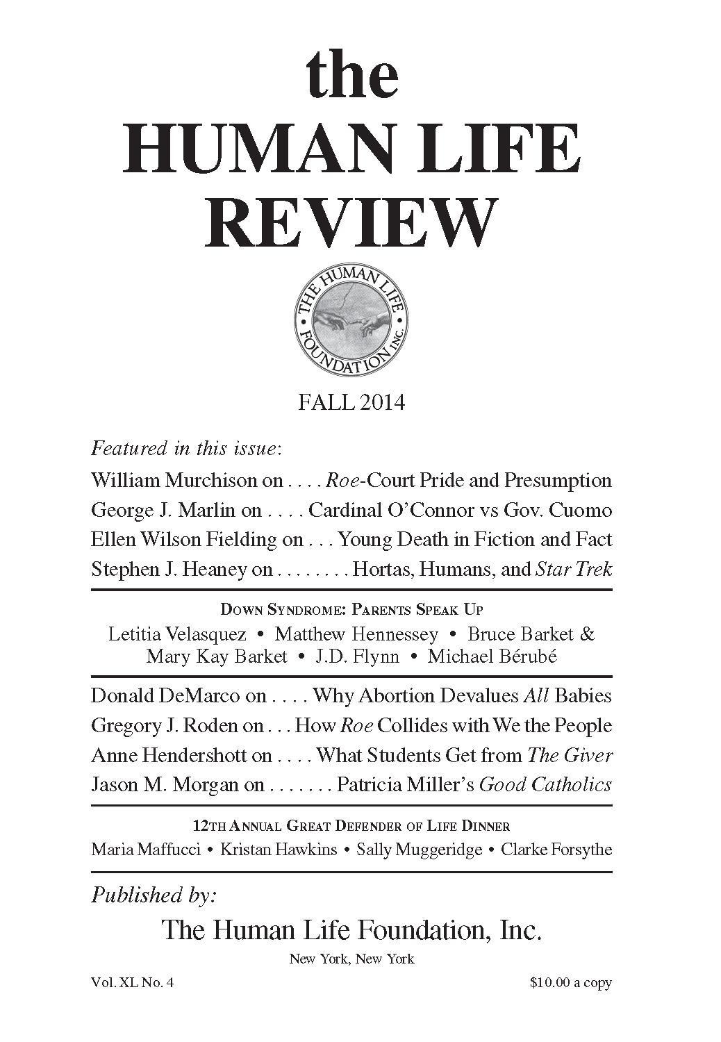 The Human Life Review Fall 2014 - The Human Life Review